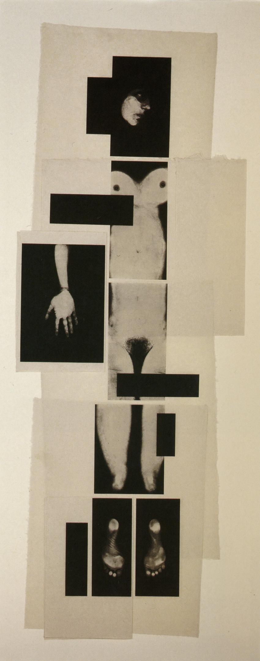 Caligrafías (Mujer), 1994 (parte de un díptico), fotograbado y aguatinta, papel Arakaji sobre Guarro Yerba, 215 x 80 cm, ed. de 20 ejemplares + 1 PA.