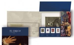 Carpeta abierta y folleto de la colección de grabados del Greco.