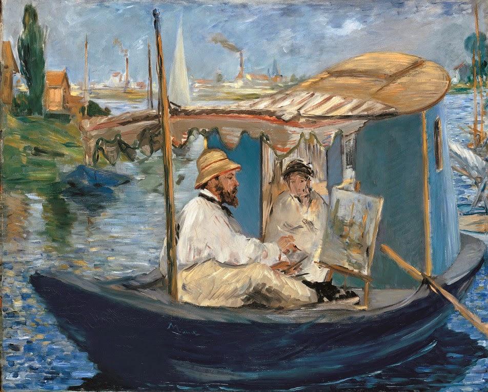Claude Monet pintando en su barco-taller en Argenteuil, por Édouard Manet, 1874, óleo sobre lienzo, 82,7 x 105 cm, Múnich, Neue Pinakothek.