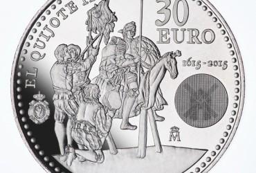 El Quijote y Sancho Panza en una moneda de plata