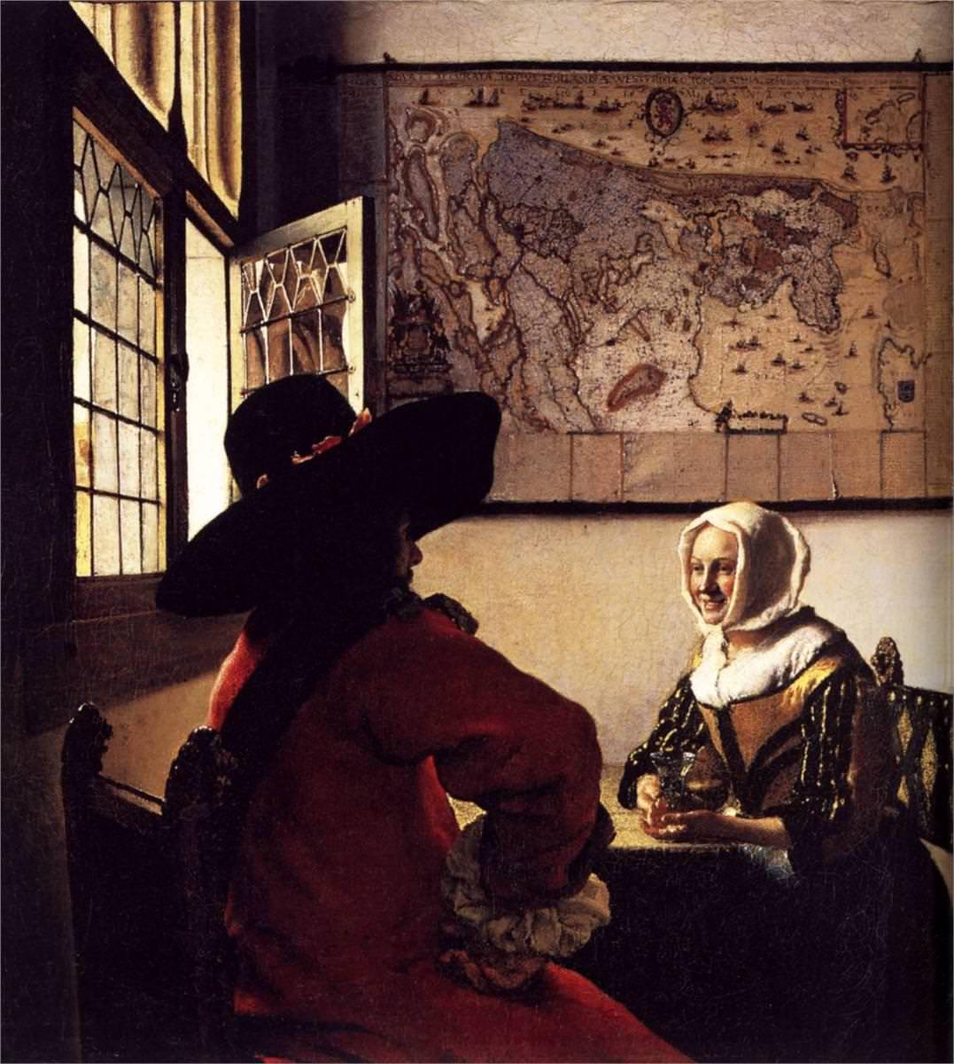 Oficial y mujer sonriendo, h. 1658, óleo sobre tabla, 49,2 x 44,4 cm, Nueva York, Colección Frick.