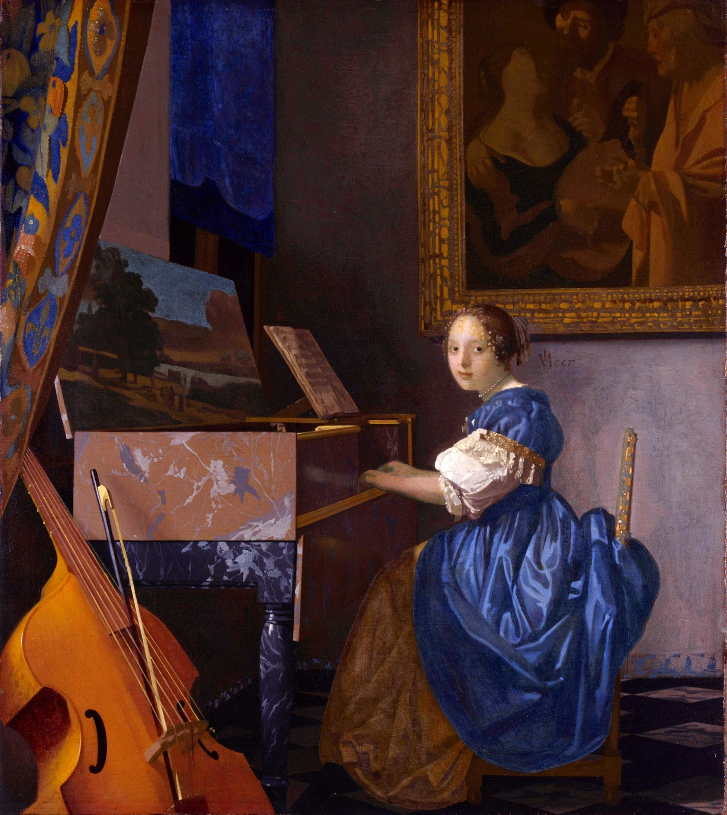 Mujer sentada tocando la espineta, h, 1675, óleo sobre lienzo, 51,5 x 45,5, National Gellery, Londres.