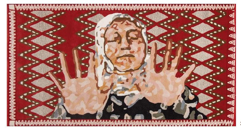 Saida, por Chus García Fraile, 2014, alfombra de lana, al dorso firmada, titulada y fechada 2014, numerada 1/1, 160 x 302 cm.