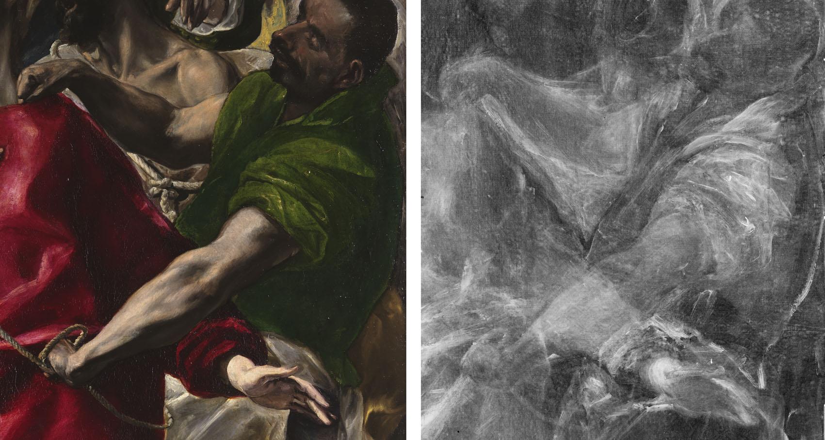 El expolio (detalle), óleo sobre lienzo, 1577-79, Toledo, sacristía de la Catedral. Imagen visible y rayos X con cambios en la composición.