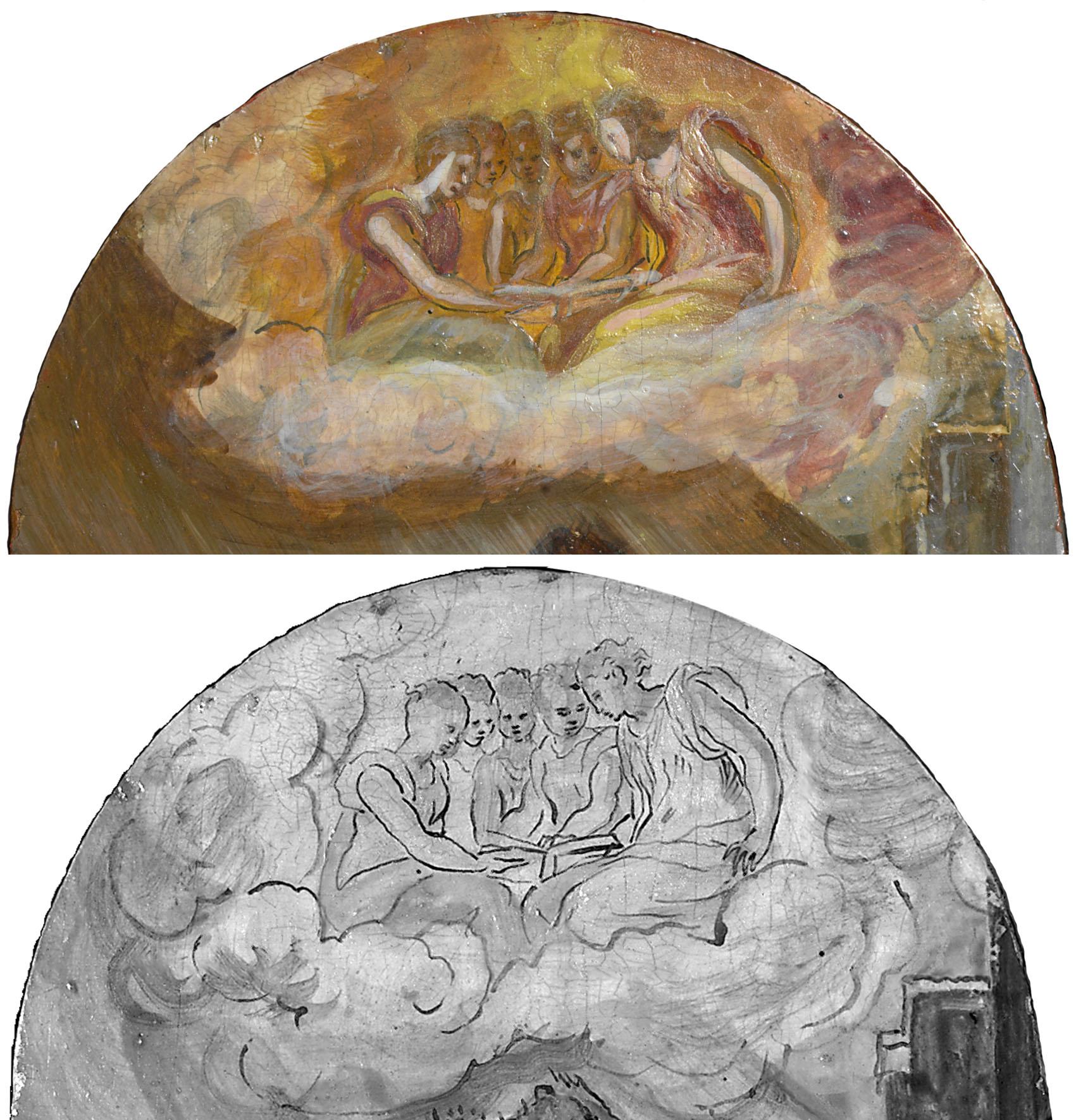 Tríptico de Módena,. Detalle coro en la parte superior de la tabla lateral izquierda: La Adoración de los pastores, óleo sobre tabla, 1567-68, Módena, Galleria Estense. Imagen visible y reflectografía infrarroja donde se ve el dibujo subyacente.