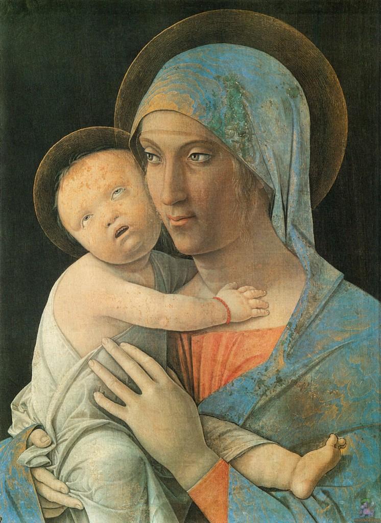 Virgen con el Niño, h. 1490-95 h., 43 x 31 cm, Academia Carrara de Bérgamo. Arriba, La Oración en el huerto de los olivos (de la predela del retablo de San Zenón), Museo de Tours.