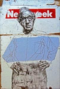 Woody Allen, por Julio Rey, acrílico y grafito sobre tabla. Galería Viky Blanco.