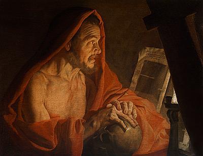 San Jerónimo en su estudio, por Matthias Stomer (1600-50), óleo sobre lienzo, 72 x 94 com.