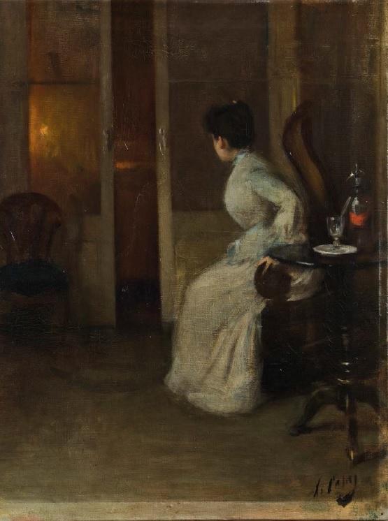 Ansiedad, por Ramon Casas, h. 1891, óleo sobre tela, 58 x 47,5 cm, Fundació Institut Amatller d'Art Hispànic,