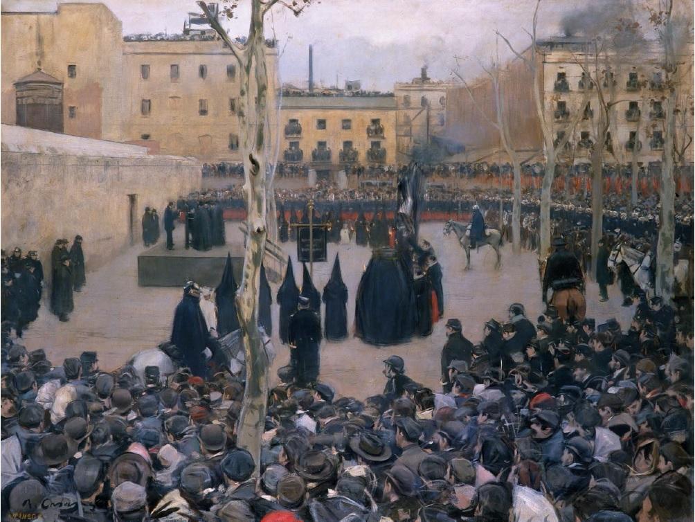 Garrote vil, por Ramon Casas, 1894, óleo sobre tela, 127 x 166 cm, Museo Nacional Centro de Arte Reina Sofía.