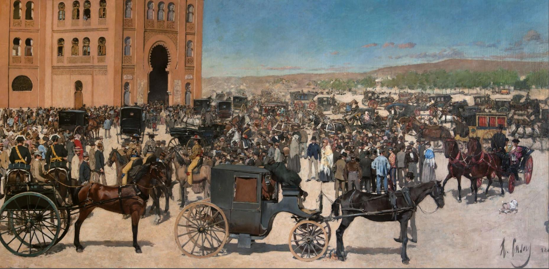 Entrada a la plaza de toros de Madrid, por Ramon Casas, 1885-86, óleo sobre tela, Fundació Vila Casas.