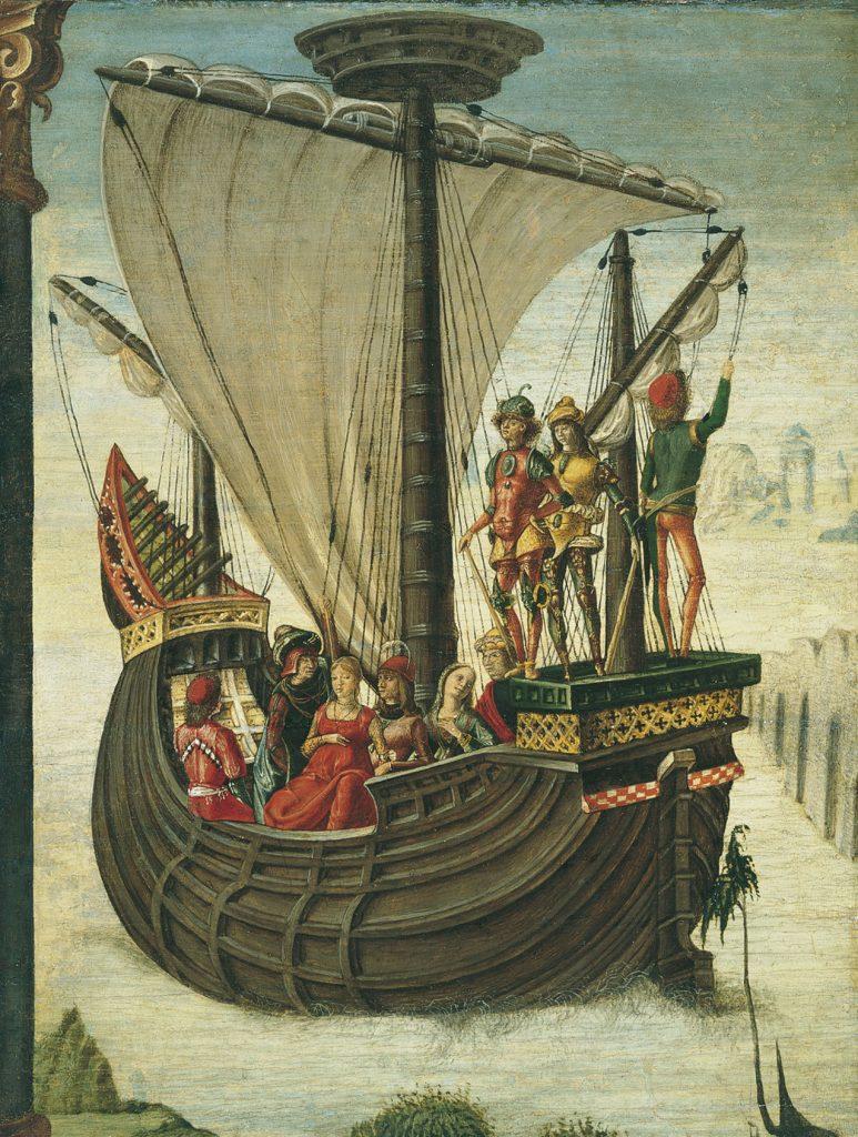 Los Argonautas abandonan la Cólquida, de Ercole De'Roberti, hacia, óleo sobre tabla. Todas las imágenes, cortesía Museo Thyssen-Bornemisza.