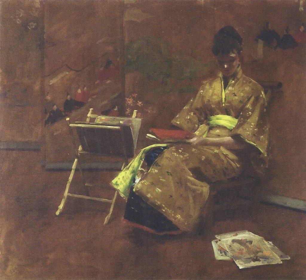 El quimono, de William Merritt Chase, h. 1895, óleo sobre lienzo, 89,5 x 115 cm, Madrid, Museo Thyssen-Bornemisza.
