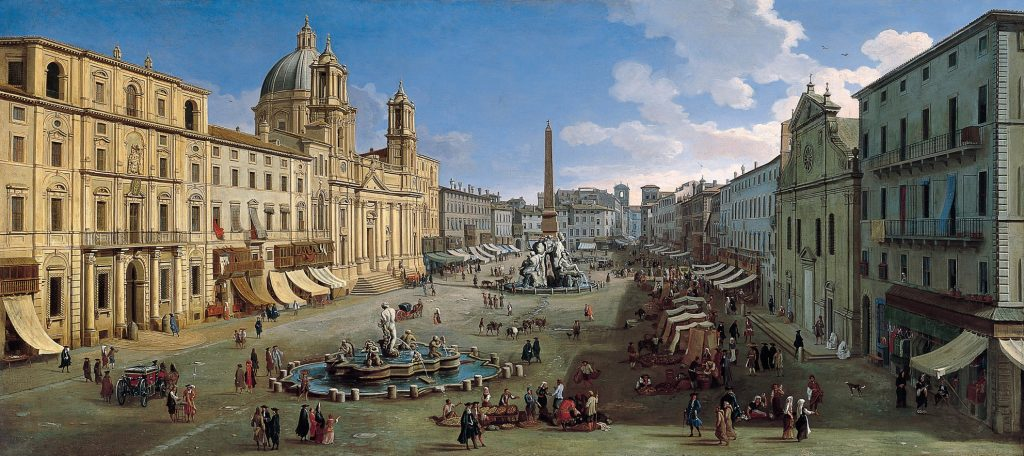 Piazza Navona, Roma, de Gaspar van Wittel, 1699, óleo sobre lienzo, 96,5 x 216 cm, Madrid, Museo Thyssen-Bornemisza.