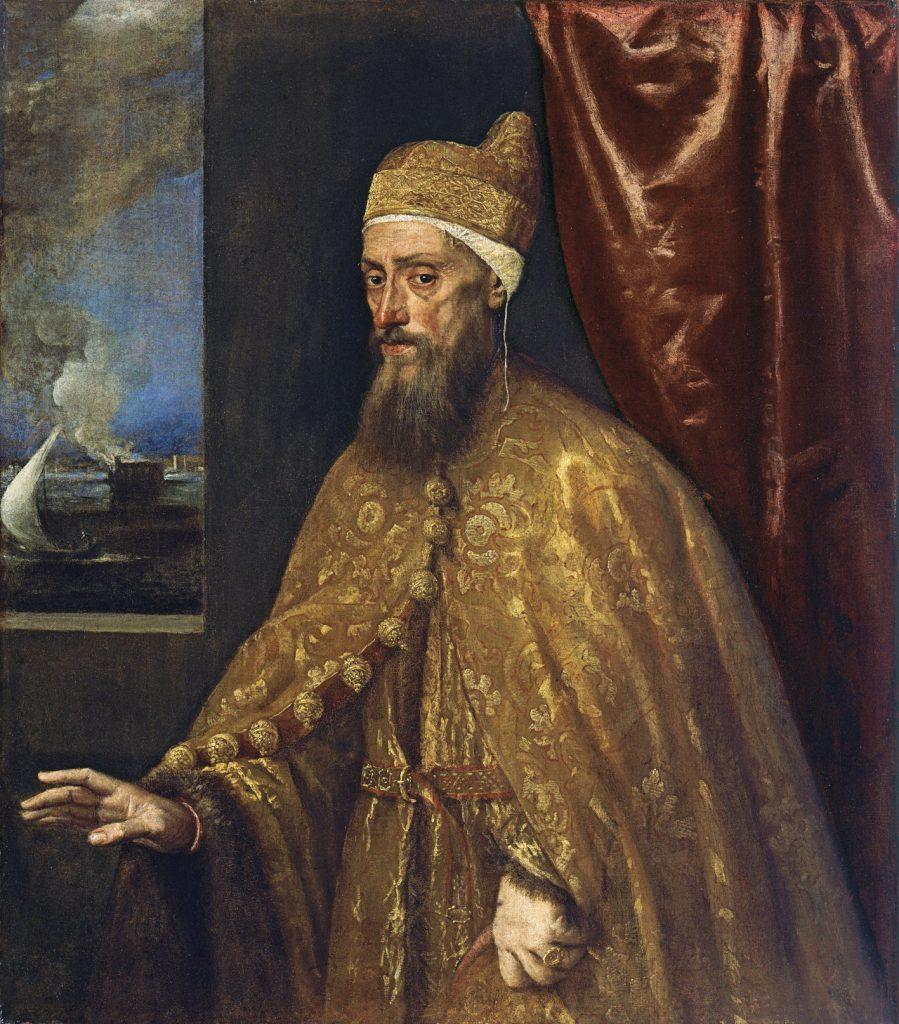 Retrato del dux Francesco Venier, de Tiziano, hacia 1554-56, óleo sobre lienzo, 113 x 99 cm, Madrid, Museo Thyssen-Bornemisza.