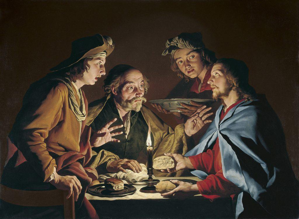 La Cena de Emaús, de Matthias Stom, h. 1633-39, óleo sobre lienzo, 111,8 x 152,4 cm, Madrid, Museo Thyssen-Bornemisza.