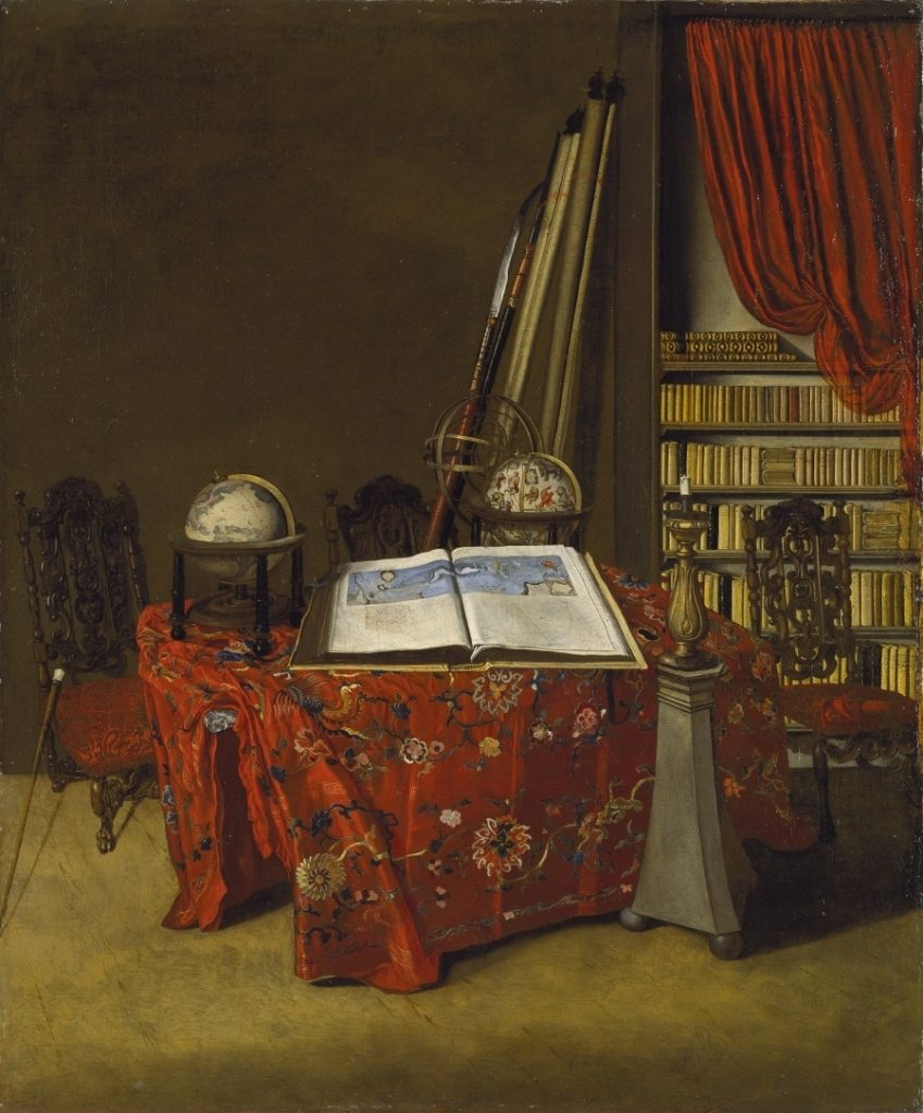 Rincón de una biblioteca, de Jan Jansz. van der Heyden, 1711, óleo sobre lienzo, 77 x 63,5 cm, Madrid, Museo Thyssen-Bornemisza.