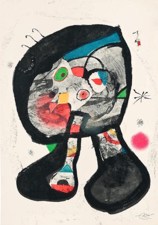 El fantasma del taller, por Joan Miró, grabado, aguatinta, litografía. Arriba, Barb II, Barb III y Barb IV, por Joan Miró, grabado con carborundo.