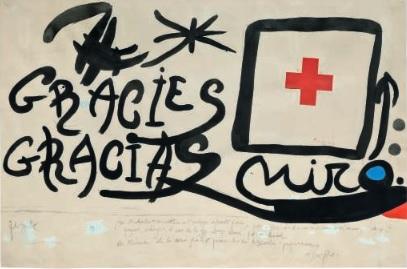 Grácies / Gracias, por Joan Miró, gouache y collage sobre papel.