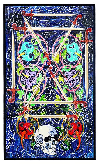 Diez de espadas, por Marina Vargas, 2016, técnica mixta sobre madera, 205 x 122 cm.