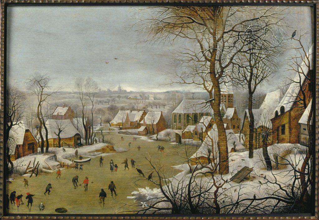 Paisaje invernal con trampa para pájaros, de Peter Brueghel el Joven, h. 1620, Amberes, Museum Mayer van den Bergh.