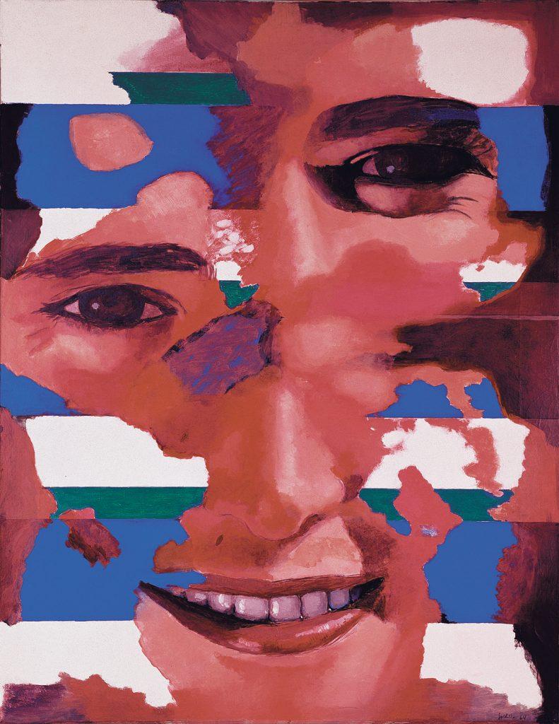 Cabeza con franjas, de Luis Gordillo, 1964, óleo sobre lienzo, 116 x 89 cm, colección particular © Luis Gordillo, VEGAP, Málaga, 2016.