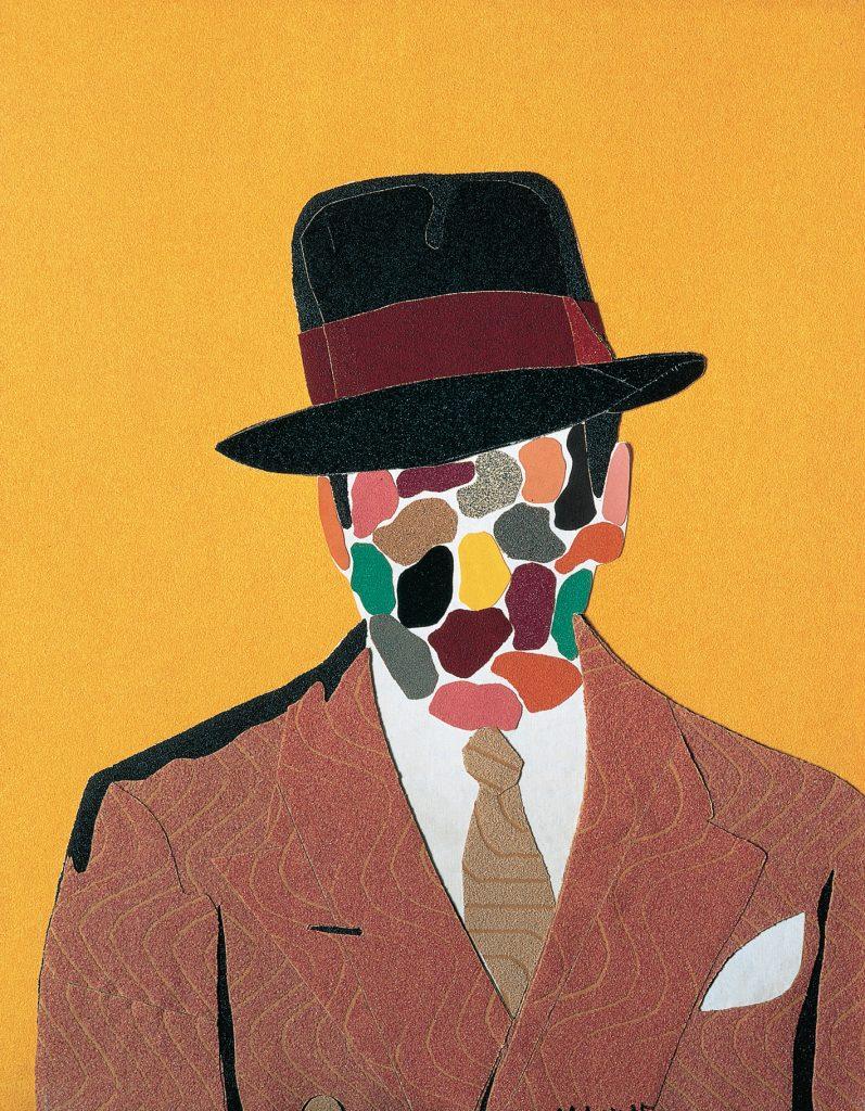 "Retrato–Peintre, de Eduardo Arroyo, 1975, collage sobre skay, 80 x 60 cm, Colección ""la Caixa"". Arte Contemporáneo © Eduardo Arroyo, A+V Agencia de Creadores Visuales, 2016."
