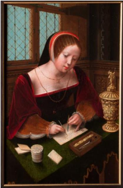 Dama escribiendo, por Maestro de las medias figuras femeninas, principios del siglo XVI, óleo sobre tabla, 38,5 x 25 cm.