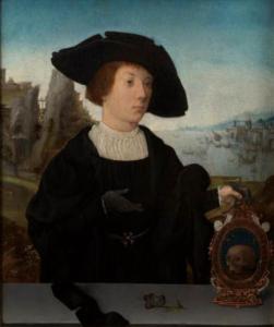 Retrato de un joven tras un parapeto con Vanitas y escena portuaria, atribuido a Jan Mostaert, h. 1520, óleo sobre madera de roble, 29 x 23 cm.