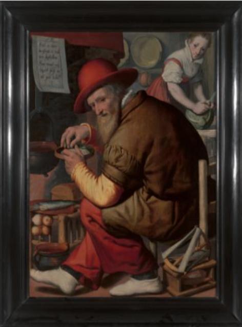 El contador de cebada, por Pieter Pietersz, h. 1550-60, óleo sobre tabla, 110 x 78 cm.