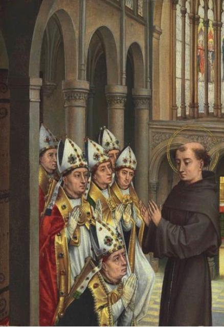 San Antonio reprende al arzobispo Simon de Sully en Bourges, por Maestro de la Adoración de los Magos del Prado, h. 1450-75, óleo sobre tabla, 47 x 34 cm.
