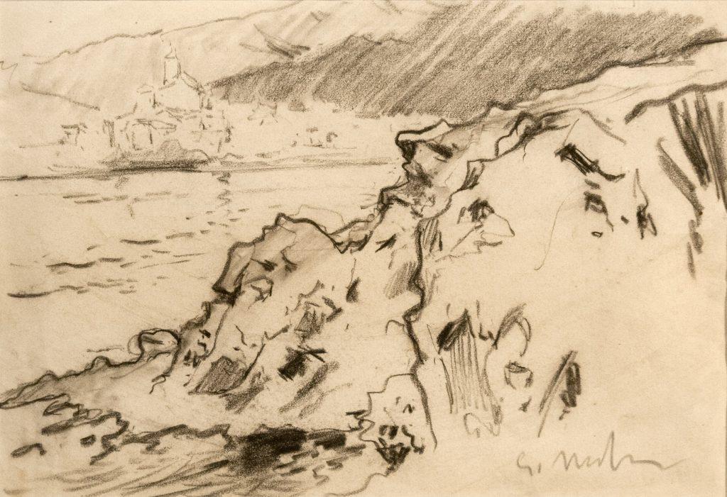 Paisaje de Cadaqués, de Eliseu Meifrén Roig, hacia 1910, carbón sobre papel, 39 x- 50,5 cm.