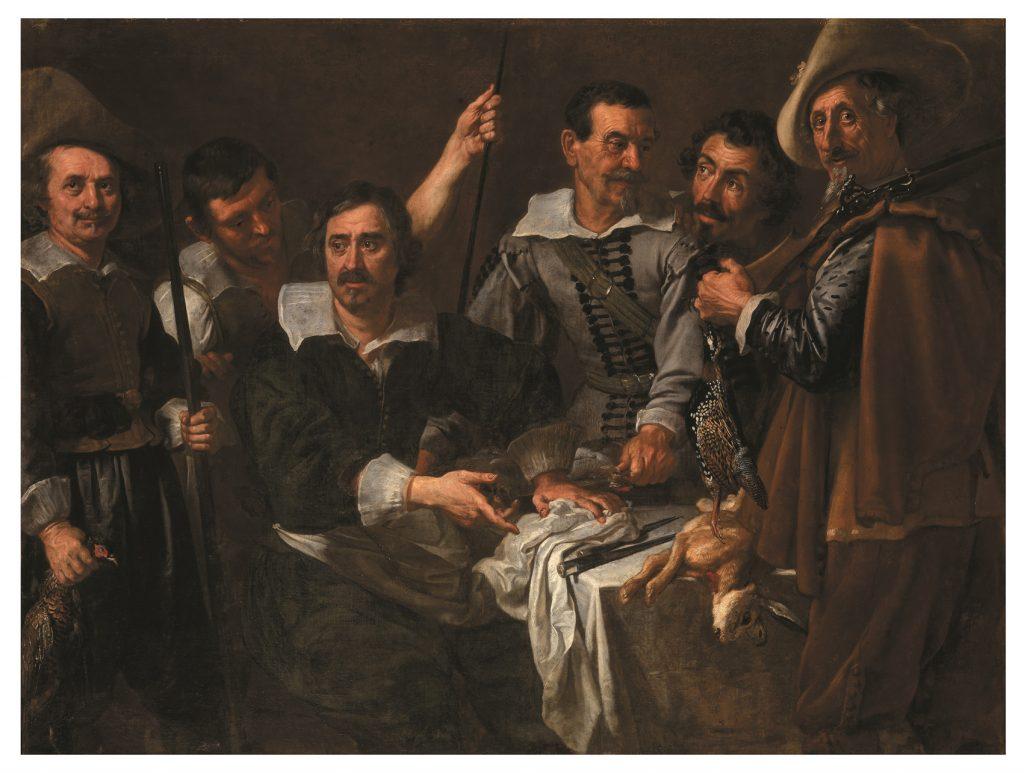Il guardarobiere di Pratolino con cacciatori e cuochi della 'famiglia' medicea, de Justus Suttermans, h. 1634, óleo sobre lienzo,