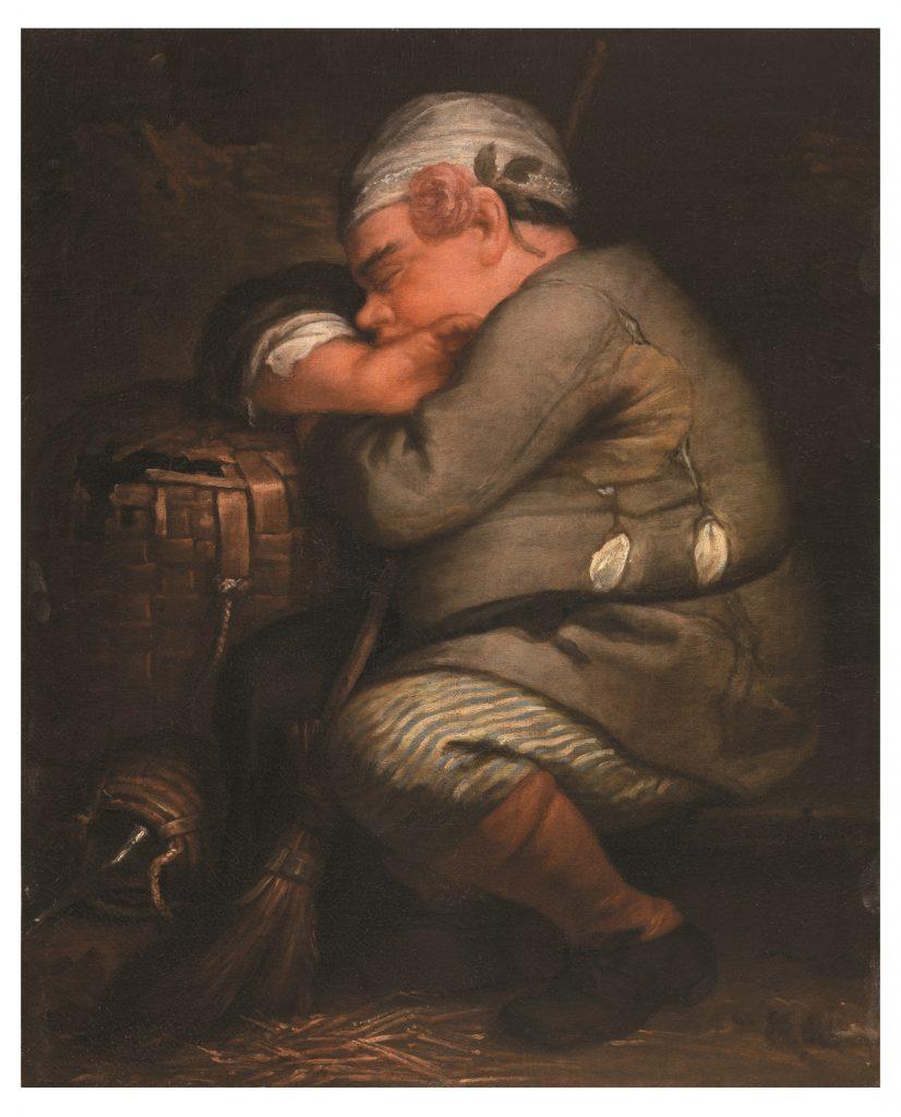 Enano durmiendo (El enano bocciolo), pintor emiliano del siglo XVIII, h. 1700-10, óleo sobre lienzo.