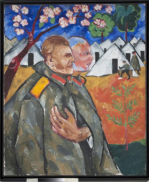 Retrato de M. F. Lariónov y su jefe de sección. por Natalia Goncharova, 1911, óleo sobre lienzo, 119 х 97 cm.