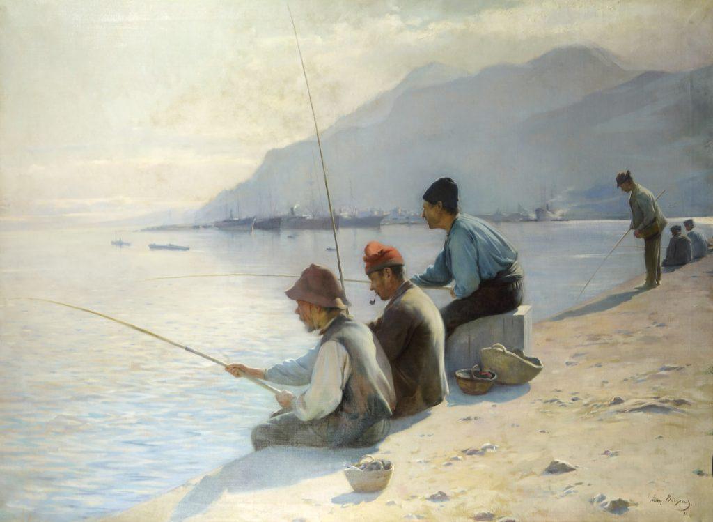 Pescadores en el Puerto de Barcelona, de Joan Baixas i Carreter, 1898, óleo sobre lianzo, 76 x 110,5 cm.