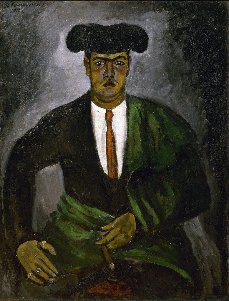 Matador. por Piotr Konchalovski, 1910, óleo sobre lienzo, 125,5 x 97 cm. Arriba: Campesina, por Natalia Goncharova, 1910, óleo sobre lienzo, 73 x 103 cm.