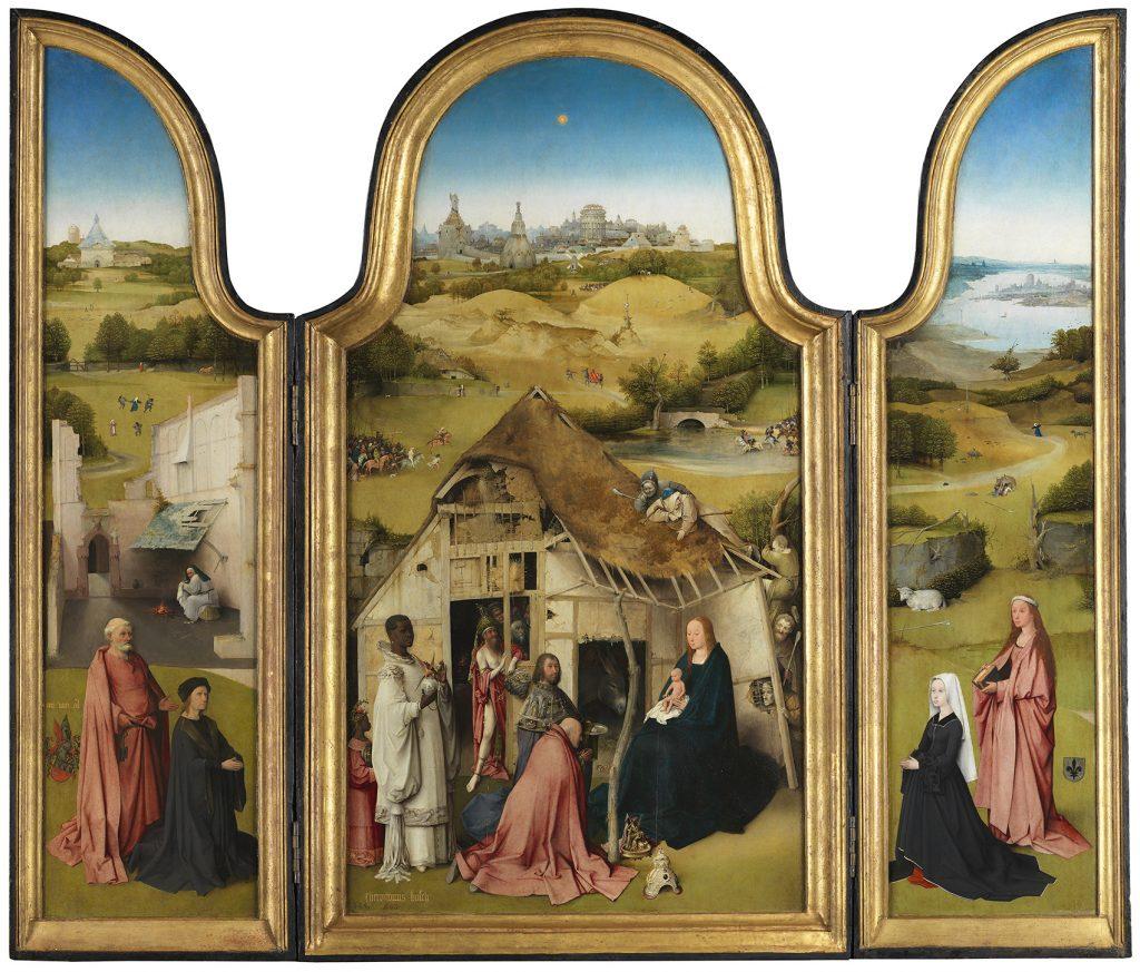 La adoración de los Magos, del Bosco, h. 1495, Museo del Prado.