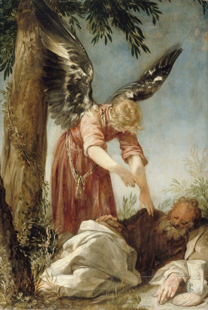 Ángel despertando al profeta Elías en el desierto, de Juan Antonio de Frías y Escalante, h. 1650-60, Museos Estatales de Berlín.