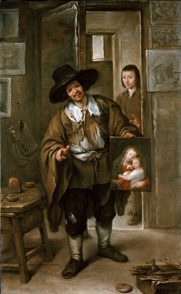 Pintor pobre o Vendedor de cuadros, de José Antolínez, h. 1670, Pinacoteca Antigua de Múnich.