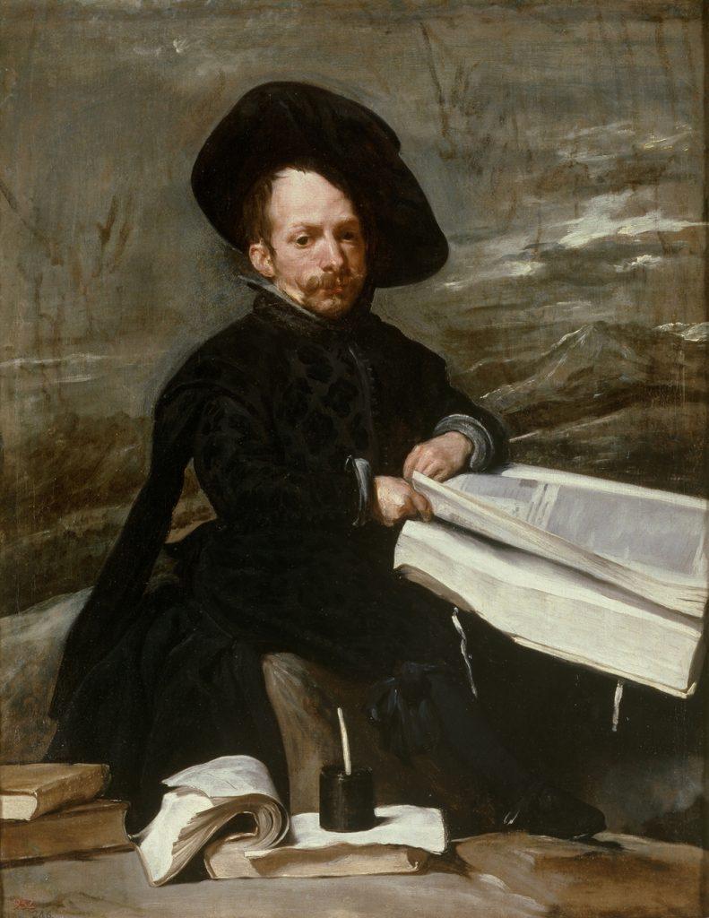 Bufón con libros (Diego de Acedo), de Velázquez, h. 1644, óleo sobre lienzo, 187 x 82 cm, Madrid, Museo del Prado.