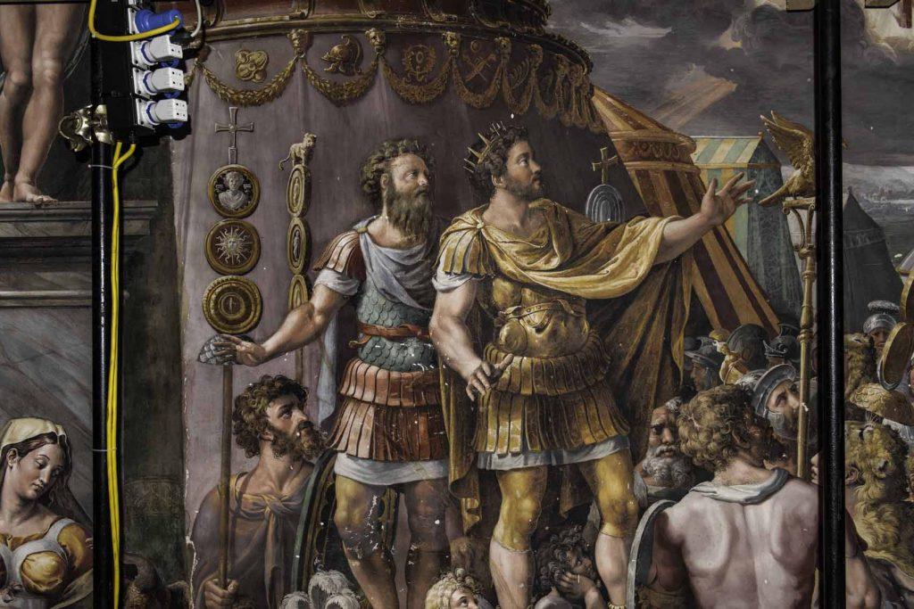 Visión de la Cruz. El emperador Constantino con el ejército antes de la batalla.