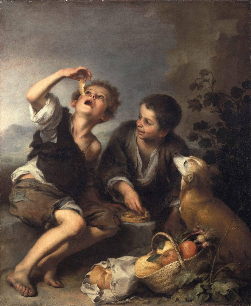 Niños comiendo un pastel, de Murillo, h. 1670-75, Pinacoteca Antigua de Münich.