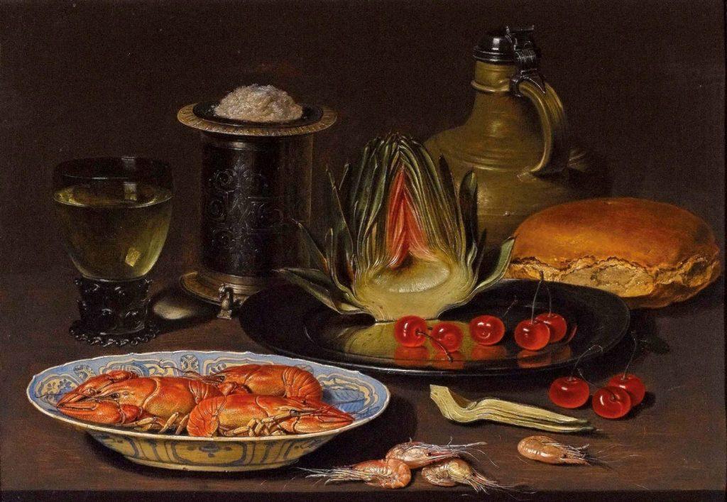 Bodegón con alcachofa, cangrejos y cerezas.