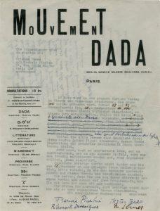 Carta dirigida a Alfred Vagts con la solicitud de Dadaglobe, firmada por Tristan Tzara, Francis Picabia, Georges Ribemont-Dessaignes y Walter Serner. 1920. Escrita a máquina, 27 x 21 cm, Archivo Lafuente.