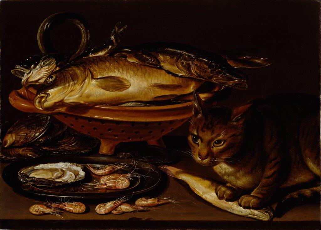 Bodegón con pez y gato.
