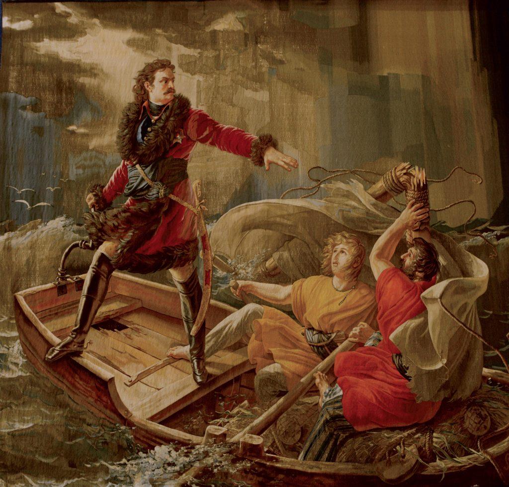 Pedro I durante la tempestad sobre el lago Ladoga, 1814-18, tapiz de la Manufactura Real Gobelíns.