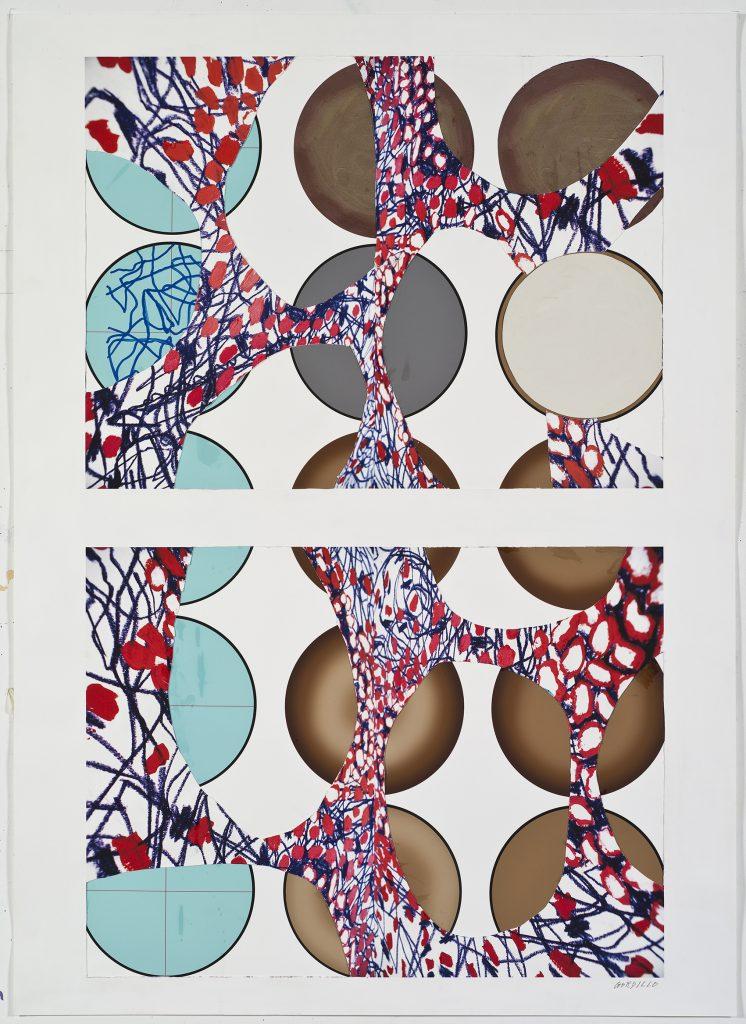 Sin título, por Luis Gordillo (artista invitado), pintura sobre papel, 2016, 18,5x85cm.