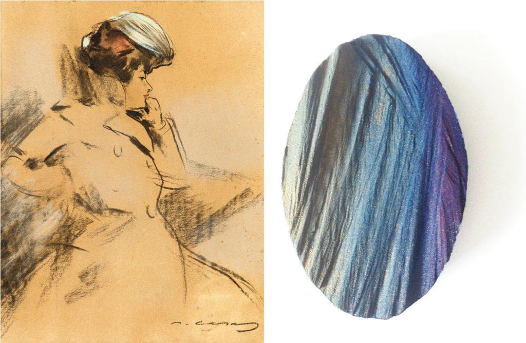Dama vestida con gabardina y sombrero, de Ramon Casas, junto al broche Sun lost in waves, de Flóra Vági, madera de cedro, pigmentos, pintura acrílica, plata y acero.