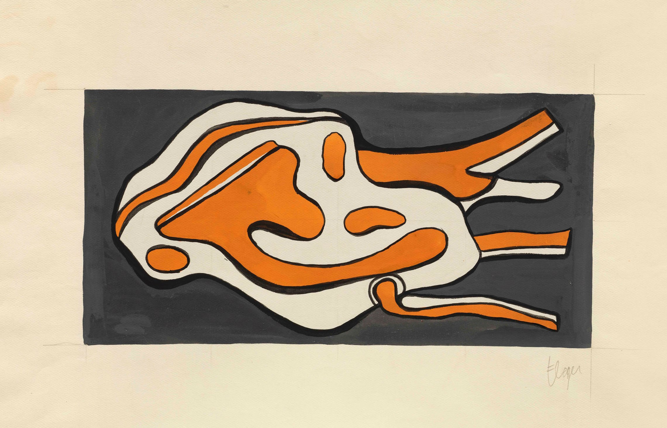 ONU (estudio),por Fernand Léger, 1951, gouache sobre papel, 22 x 44 cm, firmado y titulado.